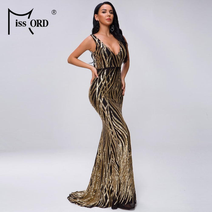 Missord 2020 Women Summer V Neck Off Shoulder Geometry Backless Sequin Dress Female Elegant Maxi-Dresses-MISS ORD Official Store-Gold-S-EpicWorldStore.com