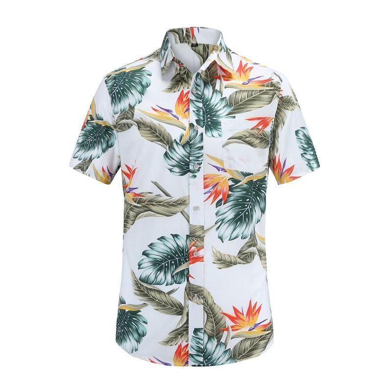 New Arrival Men Fashion Brand Summer Leaves Flower Print Loose Short Sleeve Casual Shirt Male-Casual Shirts-Alex fashion store-JS045-PR004-US S-EpicWorldStore.com