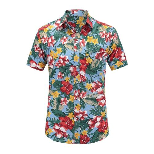 New Arrival Men Fashion Brand Summer Leaves Flower Print Loose Short Sleeve Casual Shirt Male-Casual Shirts-Alex fashion store-JS046-PR001-US S-EpicWorldStore.com