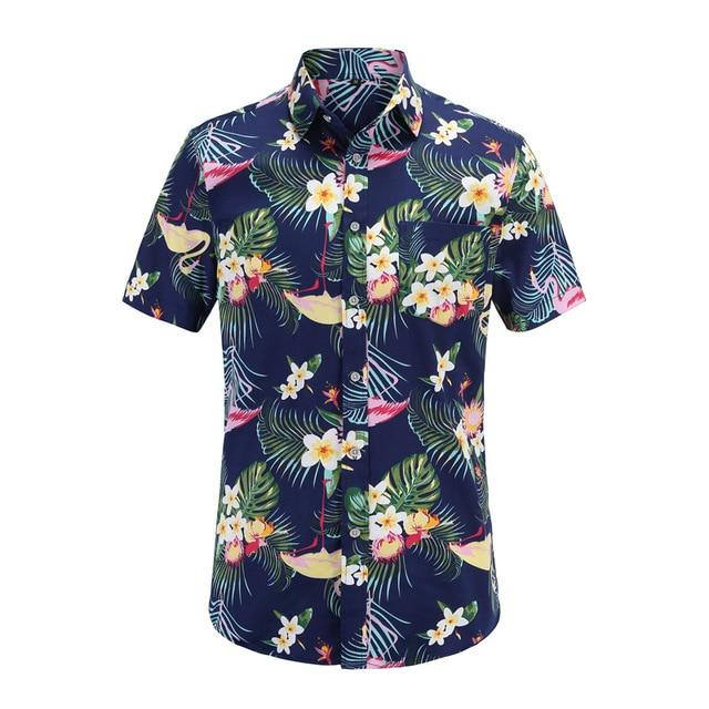 New Arrival Men Fashion Brand Summer Leaves Flower Print Loose Short Sleeve Casual Shirt Male-Casual Shirts-Alex fashion store-JS076-PR002-US S-EpicWorldStore.com