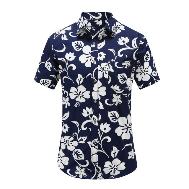 New Arrival Men Fashion Brand Summer Leaves Flower Print Loose Short Sleeve Casual Shirt Male-Casual Shirts-Alex fashion store-JS078-PR001-US S-EpicWorldStore.com
