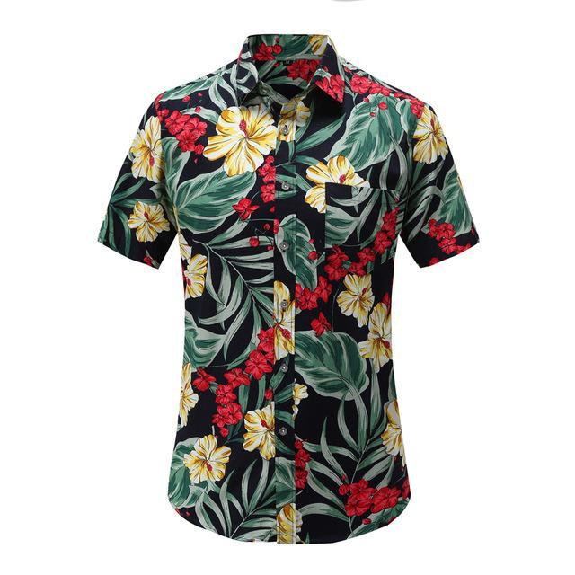 New Arrival Men Fashion Brand Summer Leaves Flower Print Loose Short Sleeve Casual Shirt Male-Casual Shirts-Alex fashion store-JS079-PR001-US S-EpicWorldStore.com