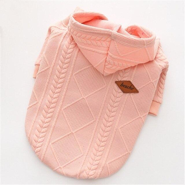 New Autumn/Winter Pet Clothes Dog Sweater Simple Twin Dyed Jacquard Hooded Knitting Sweater For-Dog Sweaters-LanYing Pets Store-pink-XS-EpicWorldStore.com