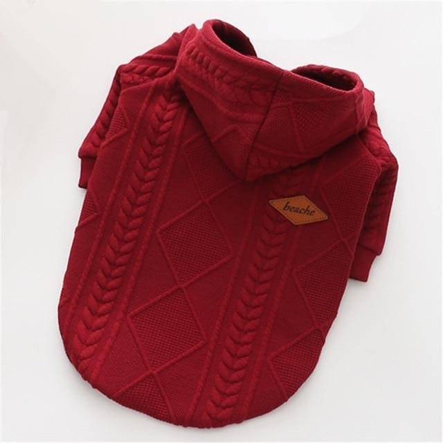 New Autumn/Winter Pet Clothes Dog Sweater Simple Twin Dyed Jacquard Hooded Knitting Sweater For-Dog Sweaters-LanYing Pets Store-red-XS-EpicWorldStore.com