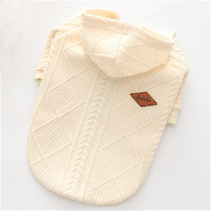 New Autumn/Winter Pet Clothes Dog Sweater Simple Twin Dyed Jacquard Hooded Knitting Sweater For-Dog Sweaters-LanYing Pets Store-white-XS-EpicWorldStore.com