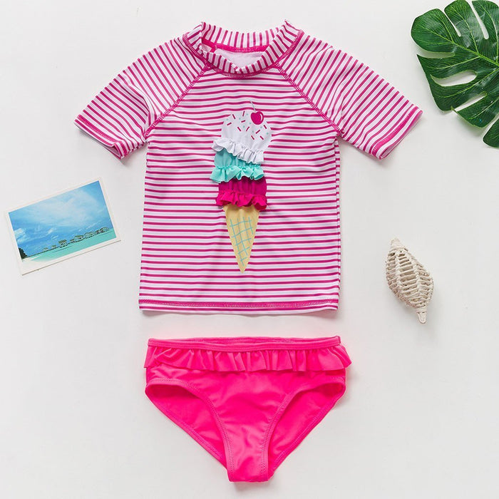 New Toddler Swimwear Set 2020 Summer Beach Clothes Kids Baby Girls Striped Cartoon Tops Shorts-Home-YOUYIDIAN Store-3-EpicWorldStore.com