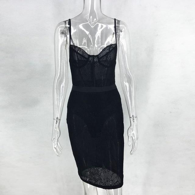 Newasia Black Lace Dress Elegant Women Party Dress Summer Spaghetti Straps High Waist See Through-Dresses-NewAsia Garden Official Store-Black-S-EpicWorldStore.com