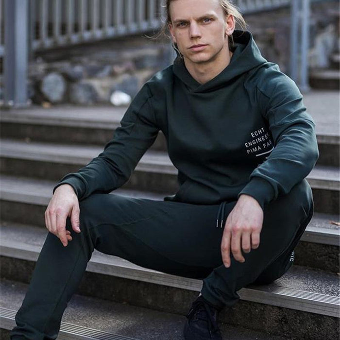 Olevo Cotton Fitness Clothing Hoodies Sports Suit Hooded Letter Print Sweatsuits Pullover Mens-Home-Olevo Boutique Store-BL-M-EpicWorldStore.com