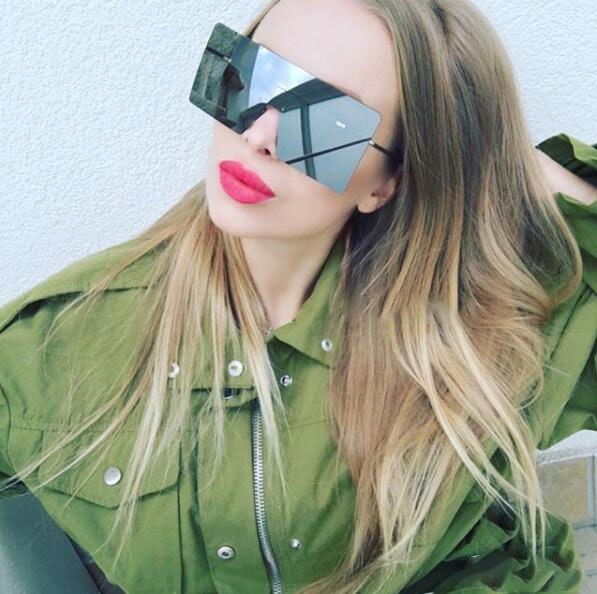 one large rimless sunglasses new sunglasses hot sale women men silver —  Mostly Shades