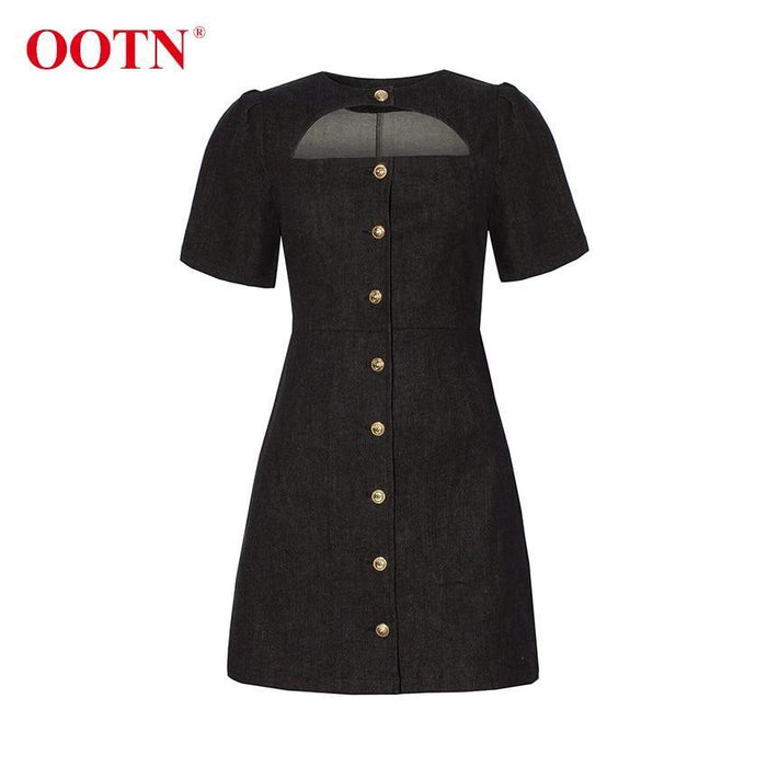Ootn Single Breasted Casual Women Summer Denim Dress Elegant Jeans Short Sleeve Hollow Out Black Sun-Dresses-OOTN Official Store-Black-S-EpicWorldStore.com