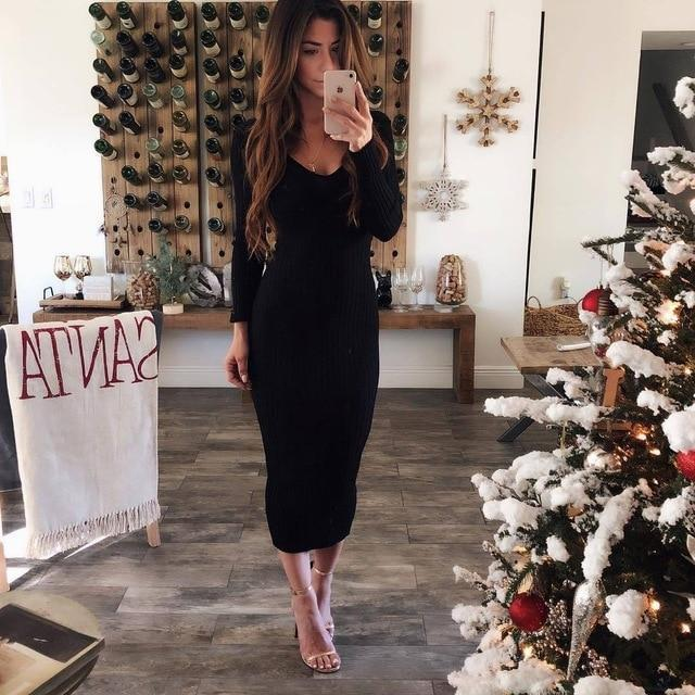 Oufisun Autumn Winter Knitted Bodycon Maxi Dress Sexy V Neck Long Sleeve Women Elegant Slim Women-Dresses-FEICHUANTHREE Store-Black-S-EpicWorldStore.com