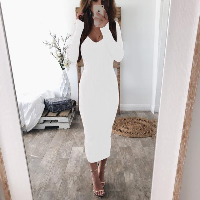 Oufisun Autumn Winter Knitted Bodycon Maxi Dress Sexy V Neck Long Sleeve Women Elegant Slim Women-Dresses-FEICHUANTHREE Store-Wihte-S-EpicWorldStore.com