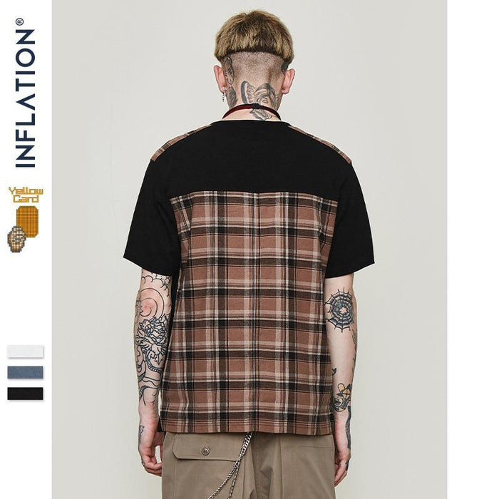 Patchwork Plaid Crew Neck Hipster T Shirt Men Summer Fashion Streetwear Color Squares Mens-Home-SHEDE Store-beige-Asain L-EpicWorldStore.com