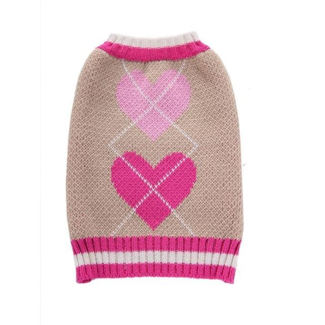 Pet Dog Sweater Clothes Winter Warm Puppy Cat Coat Jacket Soft Knitwear Heart Dog Clothing For-Home-QBZYMQ Store-pink-XS-EpicWorldStore.com