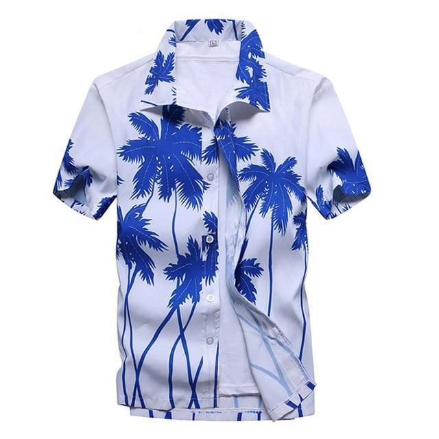 Pink Hawaiian Beach Short Sleeve Shirt Men Summer Fashion Palm Tree Print Tropical Aloha Shirts-Casual Shirts-Hipster 3D Wardrobe Store-2-Asian Size S-EpicWorldStore.com
