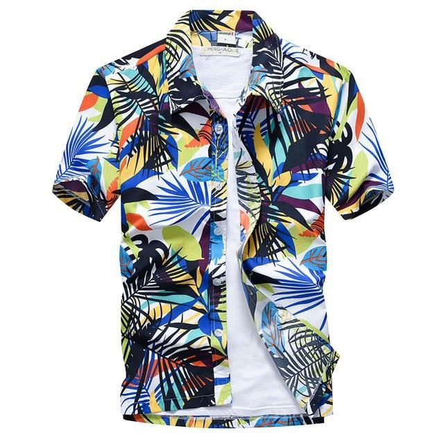 Pink Hawaiian Beach Short Sleeve Shirt Men Summer Fashion Palm Tree Print Tropical Aloha Shirts-Casual Shirts-Hipster 3D Wardrobe Store-3-Asian Size S-EpicWorldStore.com