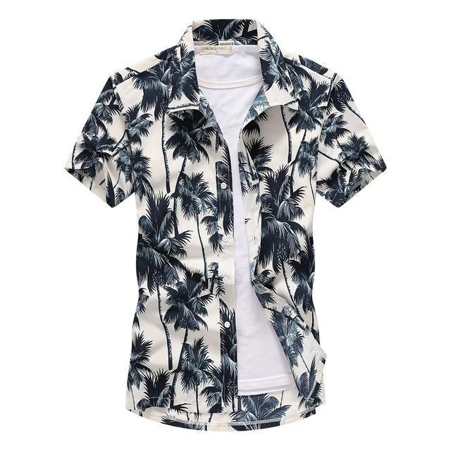 Pink Hawaiian Beach Short Sleeve Shirt Men Summer Fashion Palm Tree Print Tropical Aloha Shirts-Casual Shirts-Hipster 3D Wardrobe Store-6-Asian Size S-EpicWorldStore.com