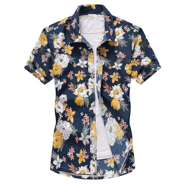Pink Hawaiian Beach Short Sleeve Shirt Men Summer Fashion Palm Tree Print Tropical Aloha Shirts-Casual Shirts-Hipster 3D Wardrobe Store-7-Asian Size S-EpicWorldStore.com