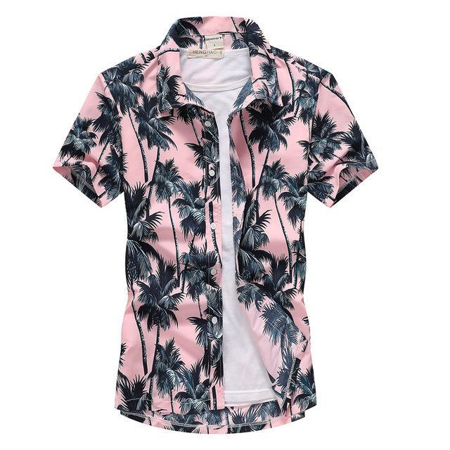 Pink Hawaiian Beach Short Sleeve Shirt Men Summer Fashion Palm Tree Print Tropical Aloha Shirts-Casual Shirts-Hipster 3D Wardrobe Store-8-Asian Size S-EpicWorldStore.com