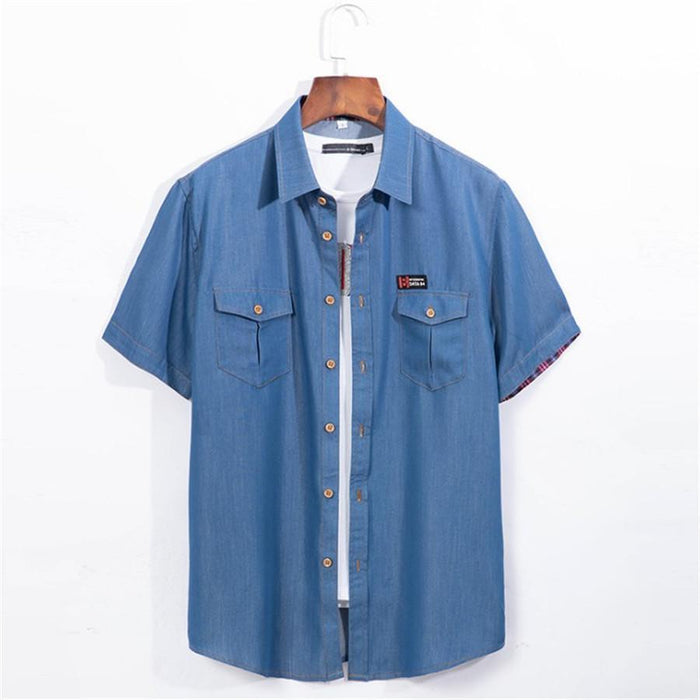 Plus Size 5Xl 6Xl Denim Shirt Men Short Sleeve Casual Loose Jean Shirts Thin Summer High Quality-Casual Shirts-Mairuker SZ Store-dark blue-L-EpicWorldStore.com