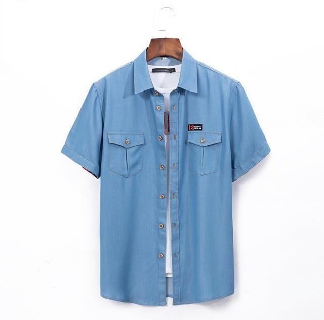 Plus Size 5Xl 6Xl Denim Shirt Men Short Sleeve Casual Loose Jean Shirts Thin Summer High Quality-Casual Shirts-Mairuker SZ Store-light blue-L-EpicWorldStore.com