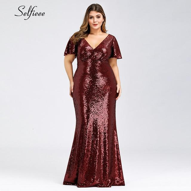 Plus Size Rose Gold Mermaid Women Dresses Short Sleeve Sequined V Neck Bodycon Elegant Maxi-Dresses-Selfieee Women's Apparel Store-Burgundy-48-EpicWorldStore.com