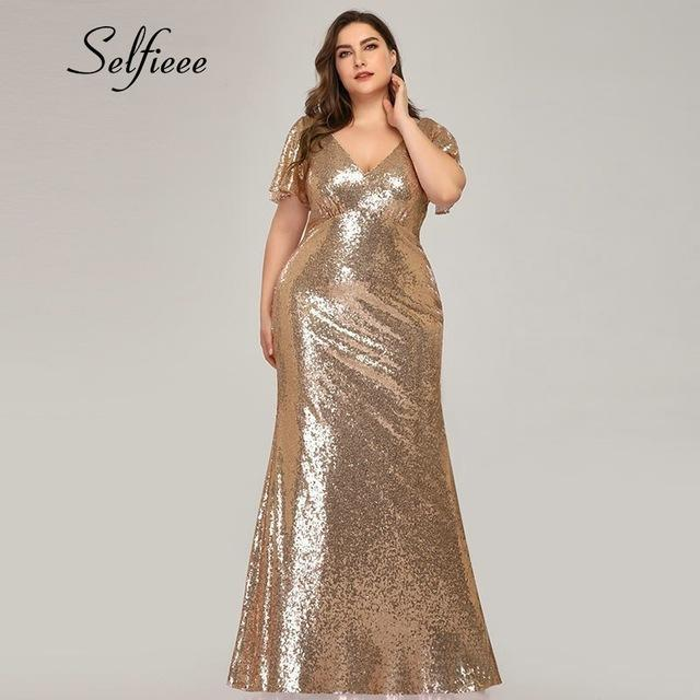 Plus Size Rose Gold Mermaid Women Dresses Short Sleeve Sequined V Neck Bodycon Elegant Maxi-Dresses-Selfieee Women's Apparel Store-Rose Gold-48-EpicWorldStore.com