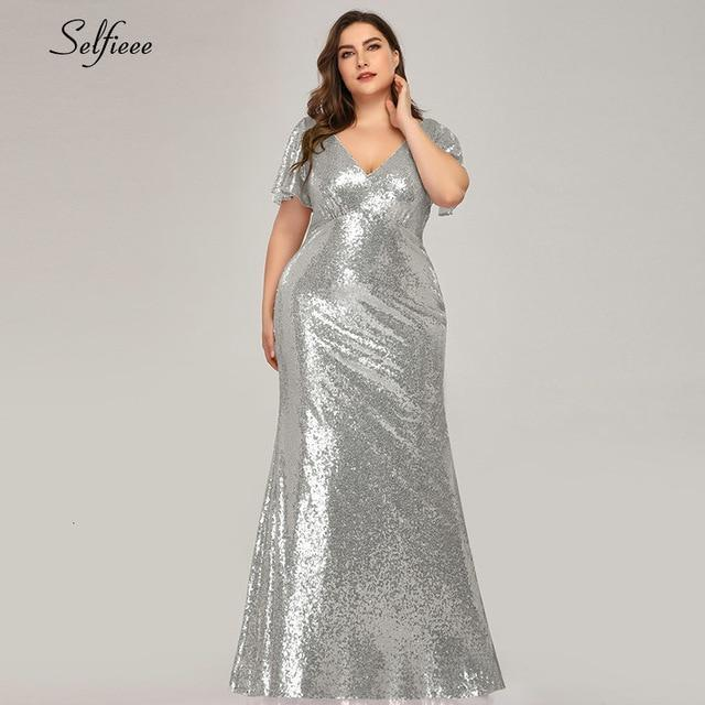 Plus Size Rose Gold Mermaid Women Dresses Short Sleeve Sequined V Neck Bodycon Elegant Maxi-Dresses-Selfieee Women's Apparel Store-Silver-48-EpicWorldStore.com
