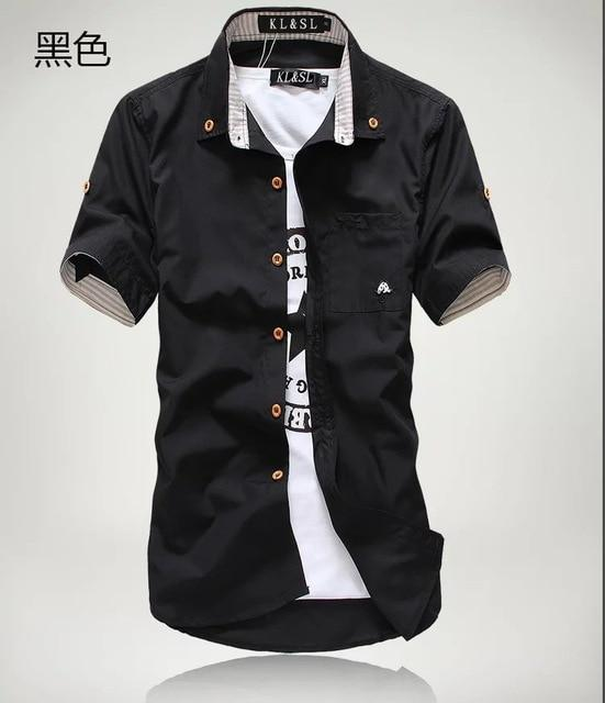Priced At Wholesale Summer Short Sleeved Shirt Mens Slim Fit Korean Style Embroidered Workwear-Casual Shirts-Shop4542029 Store-Black-2XL-EpicWorldStore.com