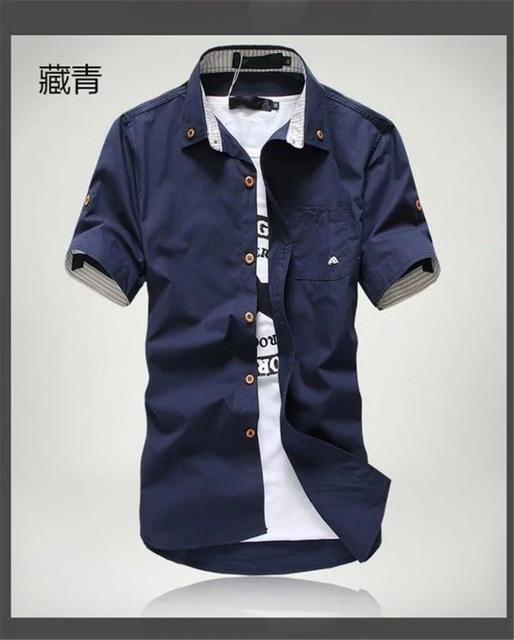 Priced At Wholesale Summer Short Sleeved Shirt Mens Slim Fit Korean Style Embroidered Workwear-Casual Shirts-Shop4542029 Store-Navy blue-2XL-EpicWorldStore.com