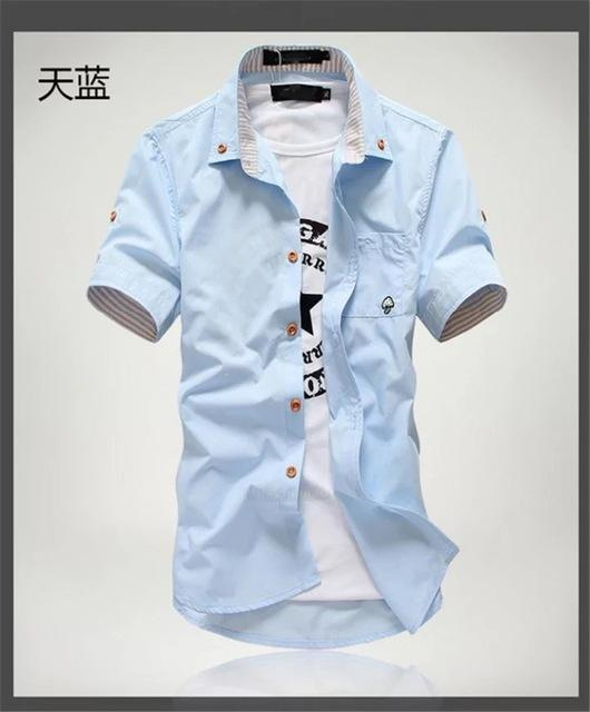 Priced At Wholesale Summer Short Sleeved Shirt Mens Slim Fit Korean Style Embroidered Workwear-Casual Shirts-Shop4542029 Store-Sky blue-2XL-EpicWorldStore.com