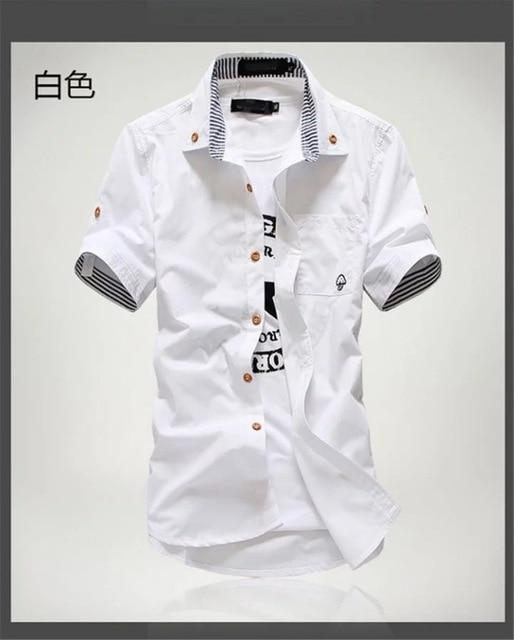 Priced At Wholesale Summer Short Sleeved Shirt Mens Slim Fit Korean Style Embroidered Workwear-Casual Shirts-Shop4542029 Store-White-2XL-EpicWorldStore.com