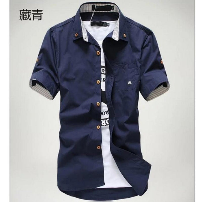 Priced At Wholesale Summer Short Sleeved Shirt Mens Slim Fit Korean Style Embroidered Workwear-Casual Shirts-Shop4542029 Store-Wine red-2XL-EpicWorldStore.com