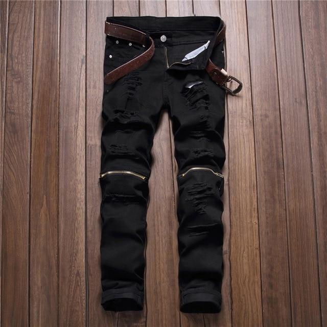 Red White Black Ripped Denim Pant Knee Hole Zipper Biker Jeans Men Slim Skinny Destroyed Torn Jean-Jeans-GMANCL Official Store-B0303 black-28-MostlyShades.com