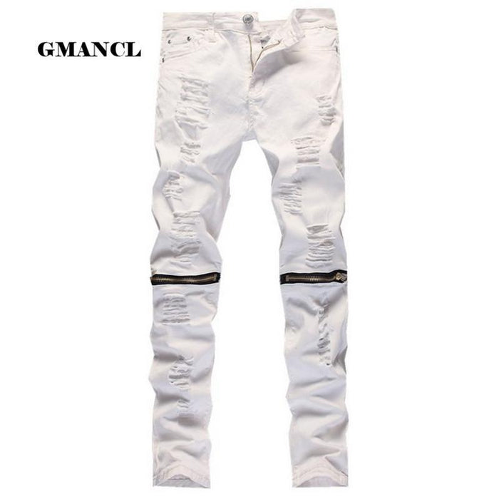 Red White Black Ripped Denim Pant Knee Hole Zipper Biker Jeans Men Slim Skinny Destroyed Torn Jean-Jeans-GMANCL Official Store-B0303 RED-28-MostlyShades.com