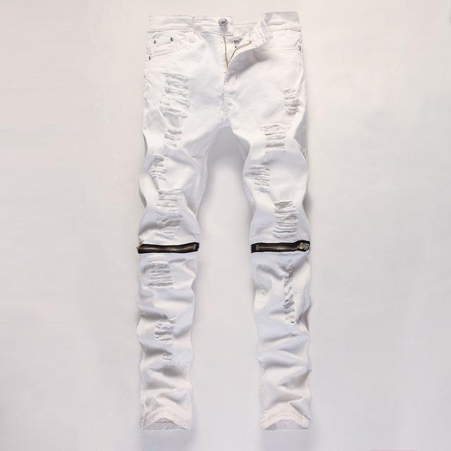Red White Black Ripped Denim Pant Knee Hole Zipper Biker Jeans Men Slim Skinny Destroyed Torn Jean-Jeans-GMANCL Official Store-B0303 white heila-28-MostlyShades.com