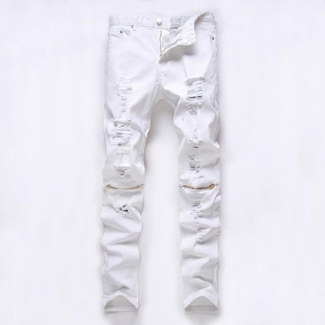 Red White Black Ripped Denim Pant Knee Hole Zipper Biker Jeans Men Slim Skinny Destroyed Torn Jean-Jeans-GMANCL Official Store-B0303 white jinla-28-MostlyShades.com