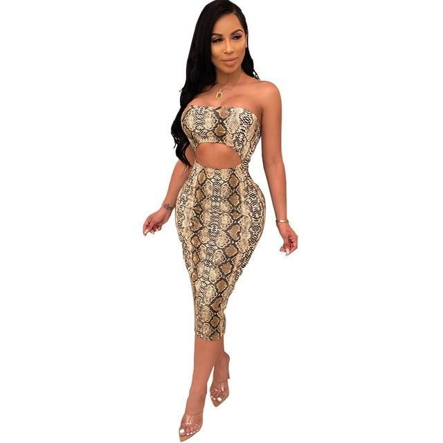 Sexy Off Shoulder Leopard Snake Print Women Casual Midi Bodycon Summer Club Party Sun Dress-Dresses-Shop3616021 Store-qian zong se-S-EpicWorldStore.com