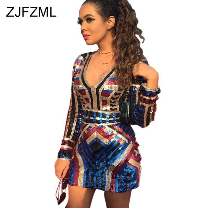 Sexy V Neck Colorful Sequin Dress Women Long Sleeve High Waist Short Autumn Dress Party Night-Dresses-Doremo Sexy Club Store-Colorful-S-EpicWorldStore.com