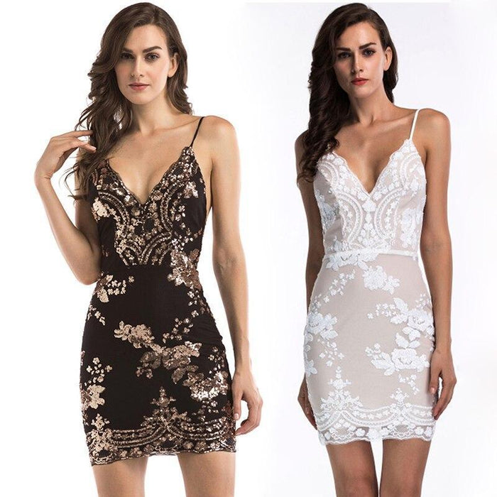 Sexy Women Gold Black Summer Sequins Dress New Luxury Club V Neck Backless Sundress Sleeveless-Dresses-Full Of Happiness Valley Sexy Store-Black-S-EpicWorldStore.com