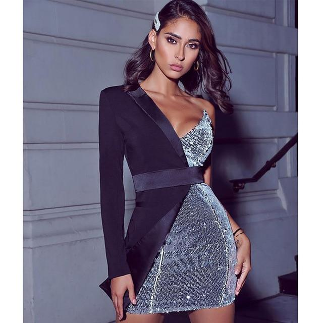 Sexy Women One Shoulder Sequin Patchwork Party Dress On Aliexpress-Home-YGF Store-Black-S-EpicWorldStore.com