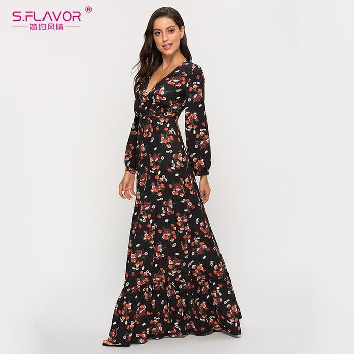 S.Flavor Flower Printing Deep V Neck Sexy Vestidos De Woman Casual Long Sleeve 2020 Spring Long-Dresses-S.FLAVOR Official Store-black-S-EpicWorldStore.com