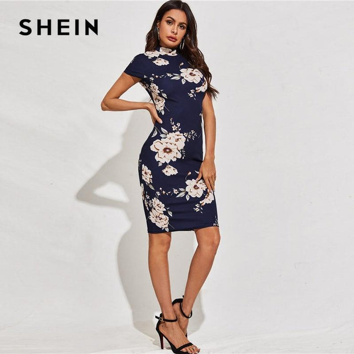 Shein Black Mock Neck Floral Print Bodycon Dress Women 2020 Spring Stand Collar Short Sleeve Elegant-Home-SheIn Official Store-Black-XS-EpicWorldStore.com