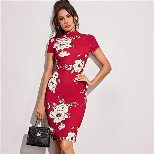 Shein Black Mock Neck Floral Print Bodycon Dress Women 2020 Spring Stand Collar Short Sleeve Elegant-Home-SheIn Official Store-Red-XS-EpicWorldStore.com