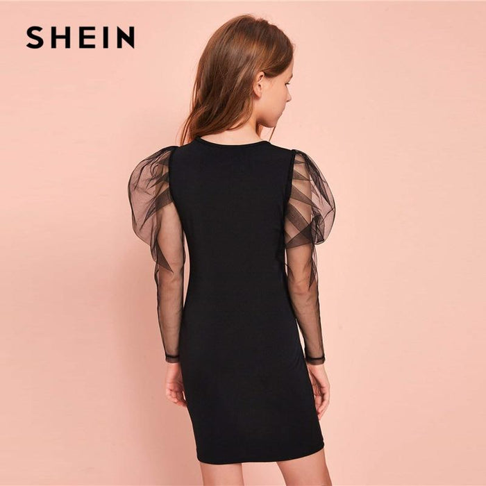 Shein Kiddie Girls Black Contrast Mesh Glamorous Bodycon Dress Kids 2020 Spring Leg Of Mutton Sleeve-Home-SheIn KIDDIE Store-Black-8T-EpicWorldStore.com