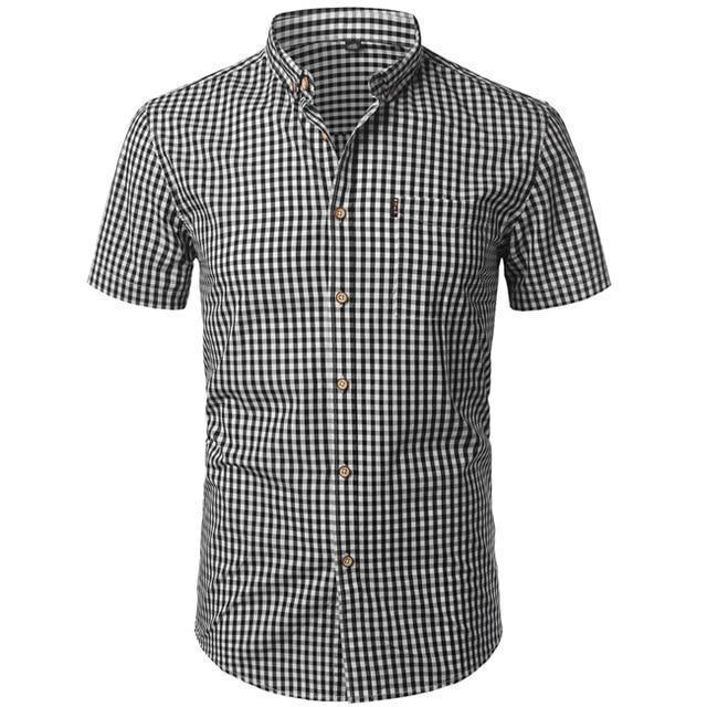 Small Plaid Shirt Men Summer New Short Sleeve Cotton Mens Dress Shirts Casual Button Down Chemise-Casual Shirts-Mens Wardrobe Store-Black White-Asian Size S-EpicWorldStore.com