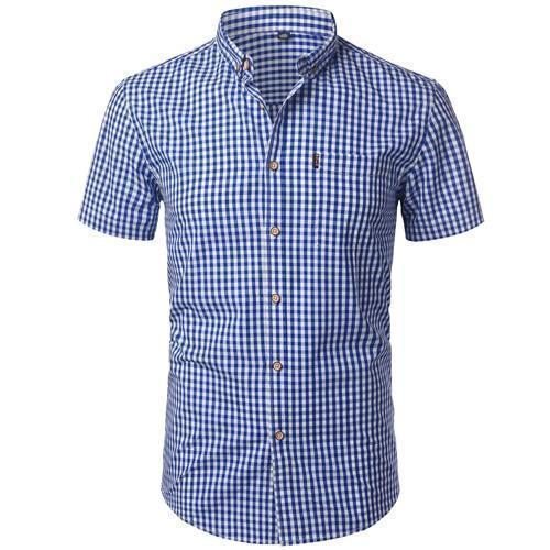 Small Plaid Shirt Men Summer New Short Sleeve Cotton Mens Dress Shirts Casual Button Down Chemise-Casual Shirts-Mens Wardrobe Store-Dark Blue-Asian Size S-EpicWorldStore.com