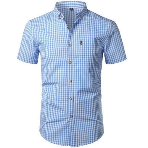 Small Plaid Shirt Men Summer New Short Sleeve Cotton Mens Dress Shirts Casual Button Down Chemise-Casual Shirts-Mens Wardrobe Store-Light Blue-Asian Size S-EpicWorldStore.com