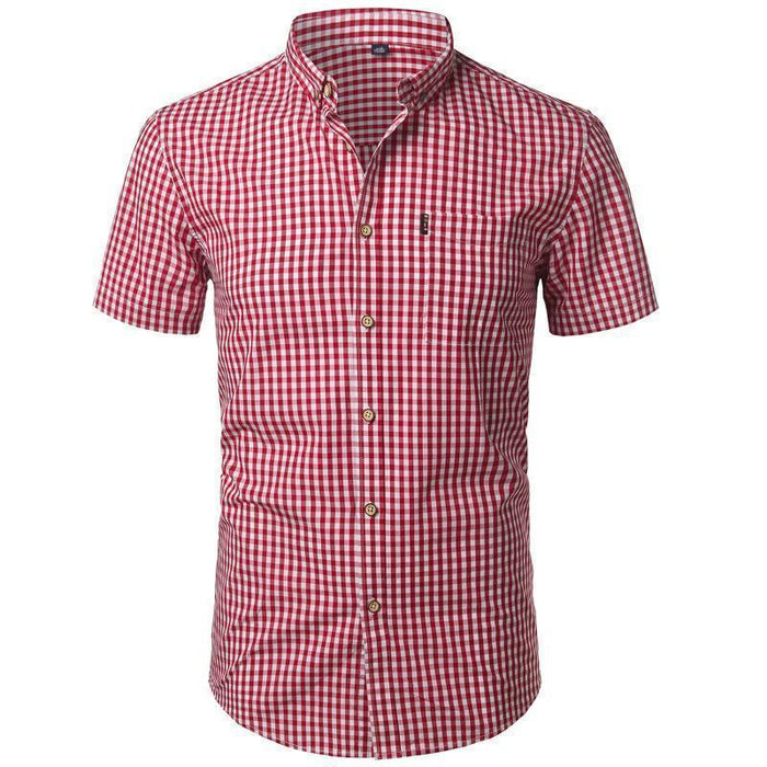 Small Plaid Shirt Men Summer New Short Sleeve Cotton Mens Dress Shirts Casual Button Down Chemise-Casual Shirts-Mens Wardrobe Store-Red-Asian Size S-EpicWorldStore.com