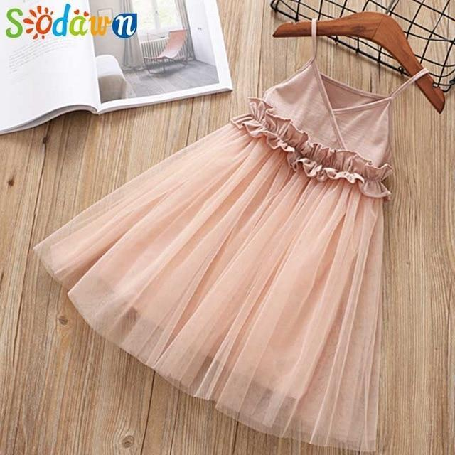 Sodawn Spring Summer Childrens Clothing Baby Girl Princess Dress Lace Short Sleeve Flower-Dresses-Sodawn Store-BL1113-Pink-2T-EpicWorldStore.com